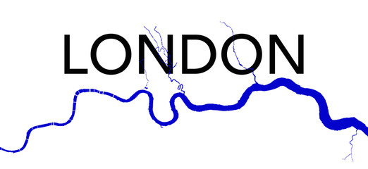 The River Thames through London Wall mural