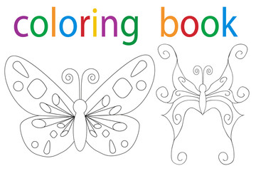 Vector, book of the butterfly coloring book