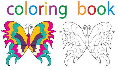 Vector, book coloring butterfly with an example