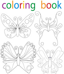 Vector, book coloring cartoon butterfly set
