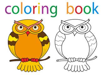 Vector, book coloring cartoon owl