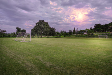 Soccer field in the countryside.