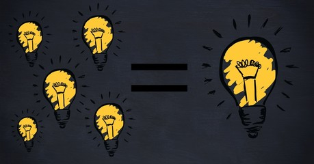 Conceptual image showing power efficiency light bulb