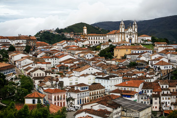 A view over the town of Ouro Preto from near the church of Sao Francisco de Paula, Brazil.