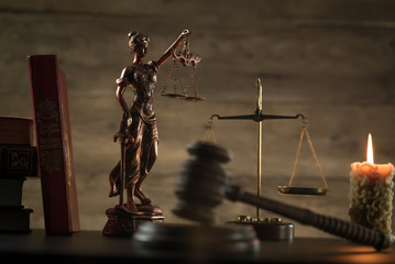 Law and Justice theme, mallet of the judge, justice scale, hourglass, books, wooden rustic desk