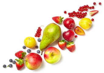 diagonal composition of various fruits
