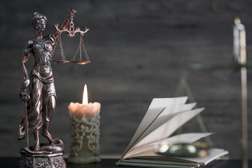 Law and Justice theme, gavel of the judge, wooden rustic desk