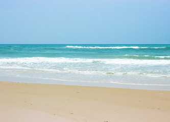 Beautiful white sand beach, the tropical sea . Summer view of nature