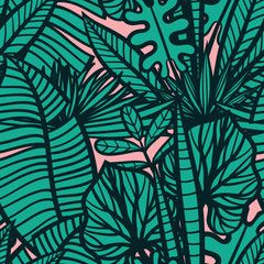 Colorful tropical pattern with exotic plants. Seamless vector tropical pattern with leaves.