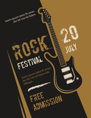Retro grunge rock and roll, heavy metal, music festival vector poster design