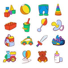 Hand drawn cartoon baby toys vector set