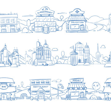 City retail buildings, store, supermarket and restaurant in hand drawn line doodle style