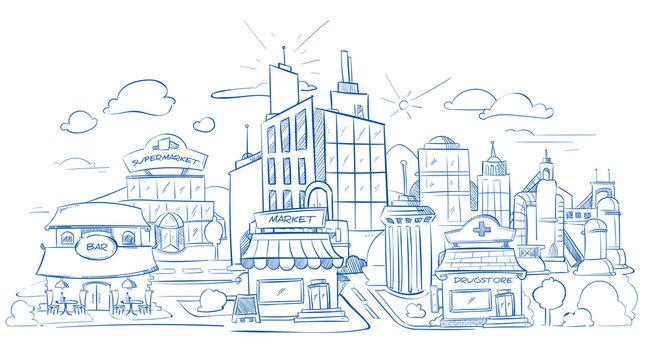 City landscape with modern buildings pencil sketch, hand drawn, doodle vector illustration