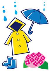 青い傘・黄色いカッパ・青い長靴
