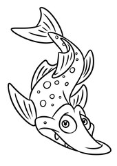 fish pike coloring page cartoon Illustrations isolated image animal character
