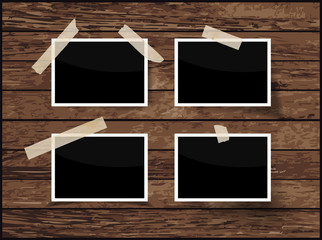 Set of frame isolated on wooden background, vector