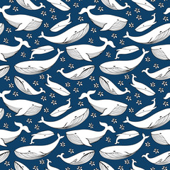Cute hand drawn whales. Monochrome Vector seamless pattern.