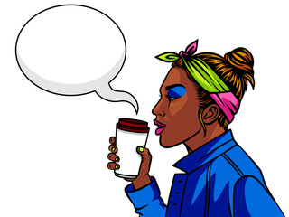 Dark skin teenage girl in 90s style drinking a coffee. Young afro american girl with  cup of coffee. Face of girl from 90s in profile