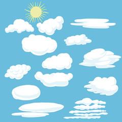Vector cartoon clouds and sun.