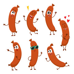 Cute and funny sausage characters with human face showing different emotions, cartoon vector illustration isolated on white background. Set of sausage characters, mascot, design elements