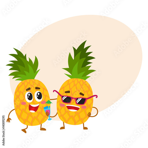Two Cute And Funny Pineapple Characters One Tickling The Other Cartoon