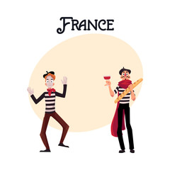 Two French mimes in traditional costumes, wine and baguette as symbols of France, cartoon vector illustration with place for text. French mime comic characters