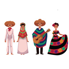 Set of Mexican people, men and women, in traditional national costumes, cartoon vector illustration isolated on white background. People of Mexico, Mexican men and women in national clothes