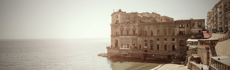 panoramic view Donn'Anna Palace in Naples - It