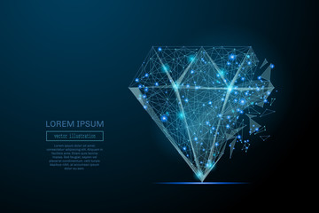 Abstract image of a diamond in the form of a starry sky or space, consisting of points, lines, and shapes in the form of planets, stars and the universe. Vector business wireframe concept.