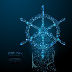Abstract image of a steering wheel in the form of a starry sky or space, consisting of points, lines, and shapes in the form of planets, stars and the universe. Vector business wireframe concept.