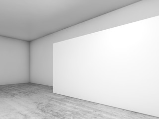 Abstract empty interior, white banner