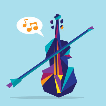 Illustration of a colorful abstract violin
