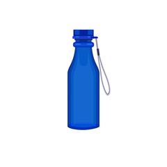 Plastic colorful bottle of water or other liquid with cap and cord. Sport bottle of water. Vector illustration.