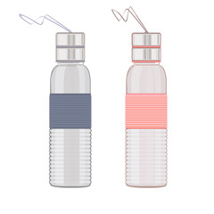 Transparent plastic bottle for water or other liquid with a metall cap and cord, set. Sport bottle of water, set. Vector illustration.