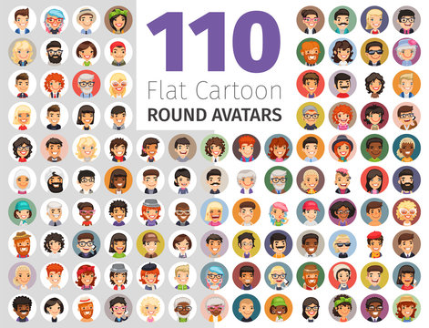 Flat Cartoon Round Avatars Big Collection