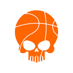 Skull basketball. Ball is head of skeleton. Emblem for sports fans