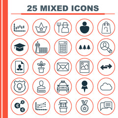 Set Of 25 Universal Editable Icons. Can Be Used For Web, Mobile And App Design. Includes Elements Such As Grower, Corona, Celebration Letter And More.