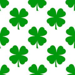 Icono plano patron con trebol 4 hojas verde sobre fondo blanco