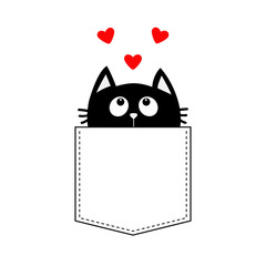 Black cat in the pocket looking up to three red heart set. T-shirt design. Cute cartoon character. Kawaii animal. Love Greeting card. Flat design style. White background. Isolated.