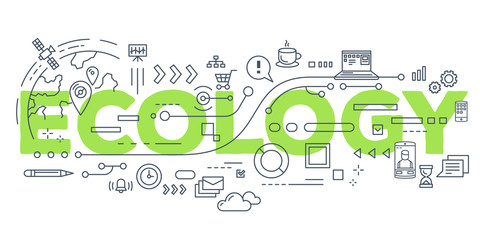 Vector creative illustration of ecology word lettering typography with line icons on white background.