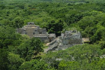 general sight of the Mayan archaeological enclosure of Ek Balam in yucatan, Mexico.