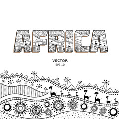 Template for design in the African style. African traditional elements of ethnic patterns. Caption filled with ornaments. Silhouette mainland. Vector illustration