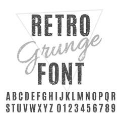 Retro Grunge Font. Vector Grunge Alphabet.
