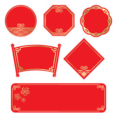 Gold frame and red backgroun banner tag style for Chinese Festival and Event Celebrations vector design vector set design