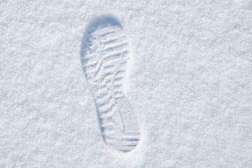 footprint in the fresh snow