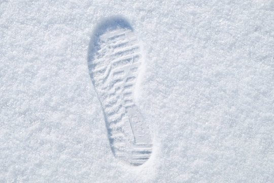 footprint in the fresh snow