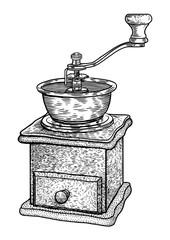 Coffee grinder illustration, drawing, engraving, ink, line art, vector