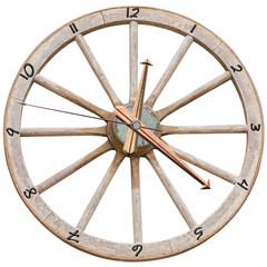 réveil roue de charrette, fond blanc