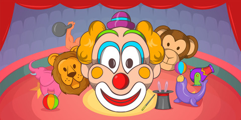 Circus horizontal banner clown, cartoon style