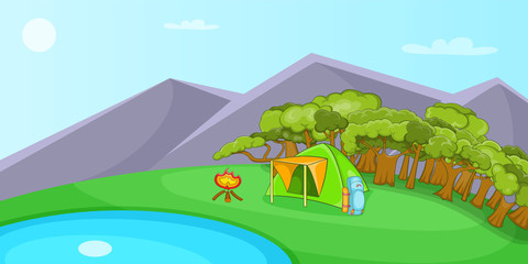 Camping horizontal banner, cartoon style
